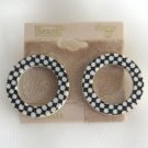Funky Black & White Retro Circle Hoop Pierced Earrings By Sears Scene IV Vintage 1980s