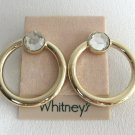Large Gold Rhinestone Hoop Pierced Earrings Designer Whitney's Vintage 1980s