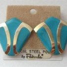 Turquoise Color And Gold Designer Pierced Earrings By Pakula Vintage 1980s