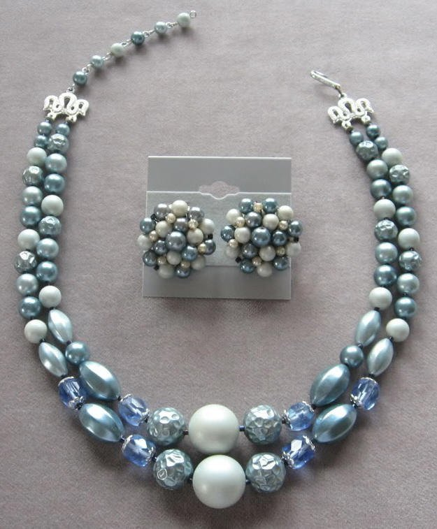 Vintage Deauville Three-Strand Beaded Choker and Earrings       845