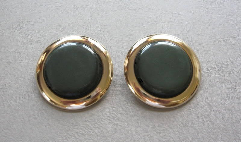 Chunky Large Green Cabochon Clip On Earrings 1950's Vintage Jewelry