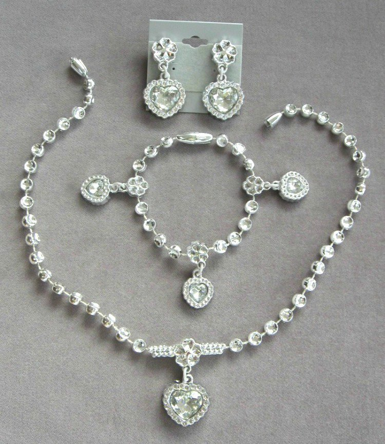 Silver Rhinestone Set Pendant Necklace Bracelet & Clip On Earrings Vintage 1990's