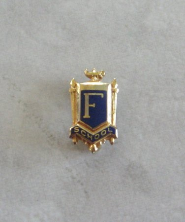 127dc57cdc1 Blue Enamel & Gold Initial F School Pin Small Brooch By Morgans Vintage  Jewelry 1950s