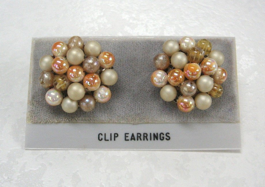 Colored Glass Beaded Clip On Earrings Retro Japan Vintage Jewelry 1950s
