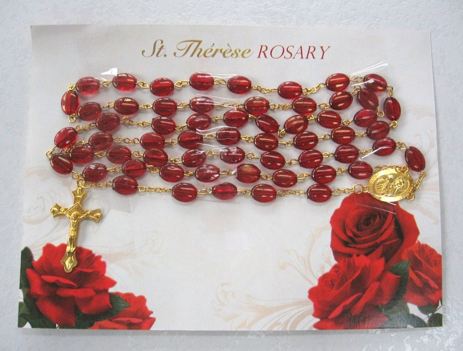 Oval Beaded Red Rosary Cross Crucifix St. Therese Religious Christianity New