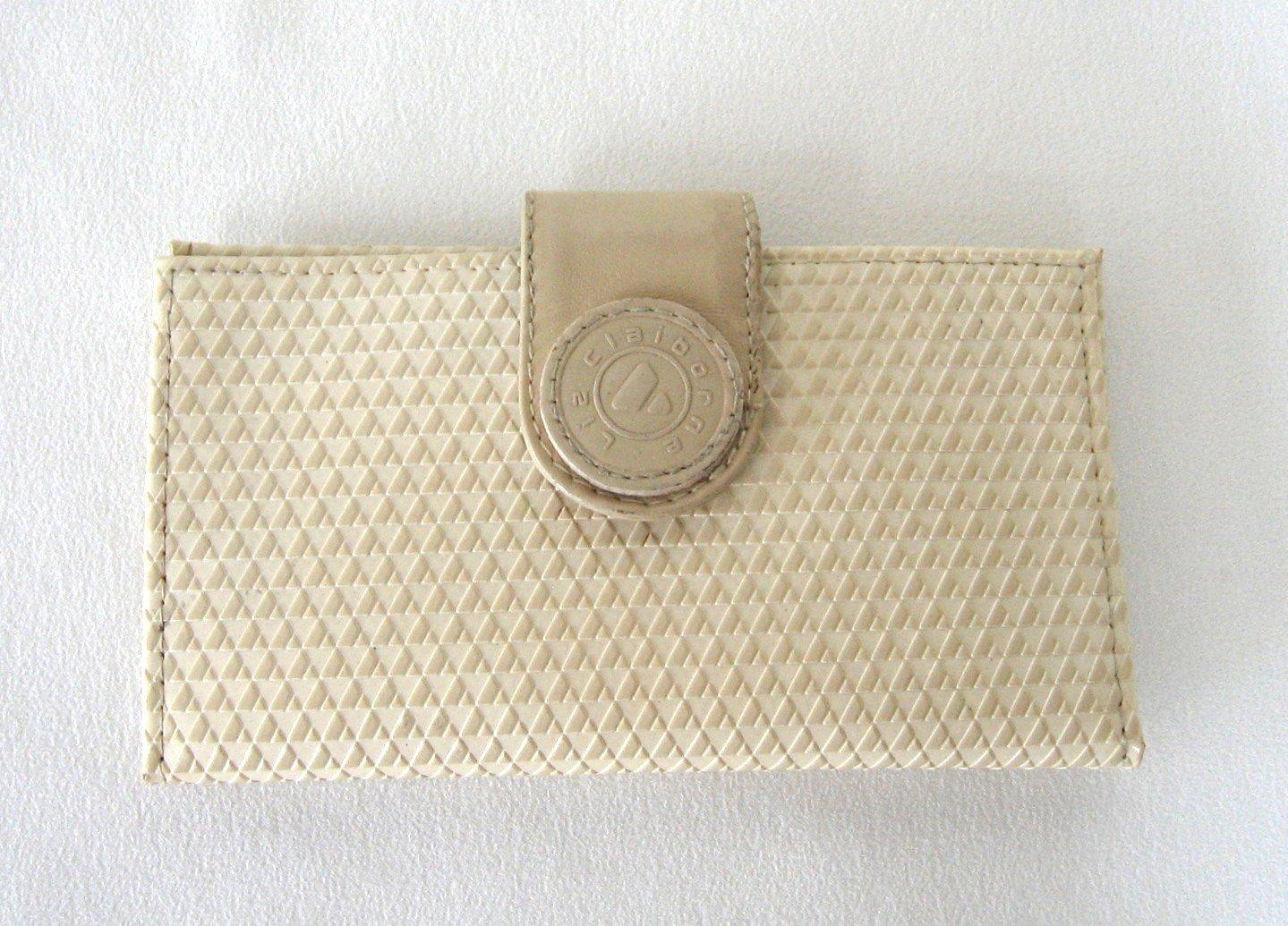 Liz Claiborne Designer Wallet Tan Beige Leather Trim Vintage