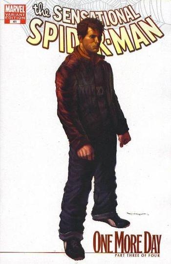 "SENSATIONAL SPIDER-MAN #41 NM (2007)1ST PRINT WHITE COVER VARIANT- ""ONE MORE DAY"""