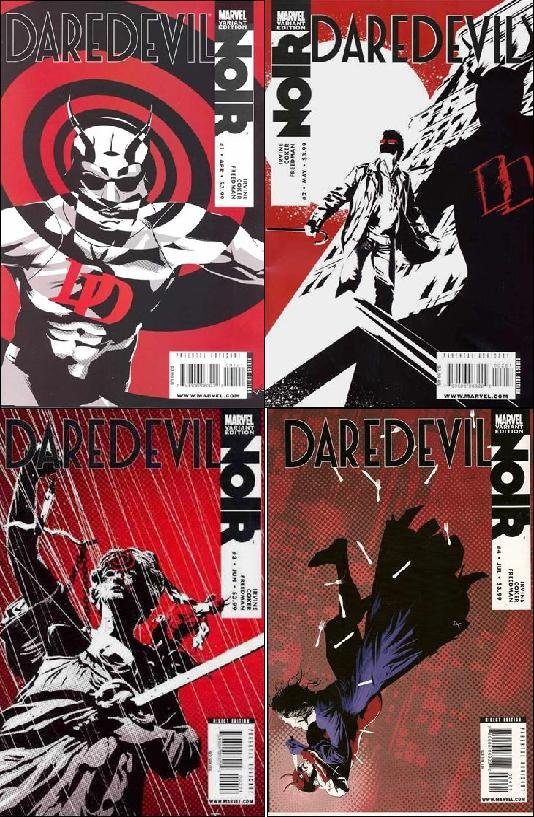 DAREDEVIL NOIR #1, 2, 3, 4 Variant Editions VF/NM *Complete Set!*