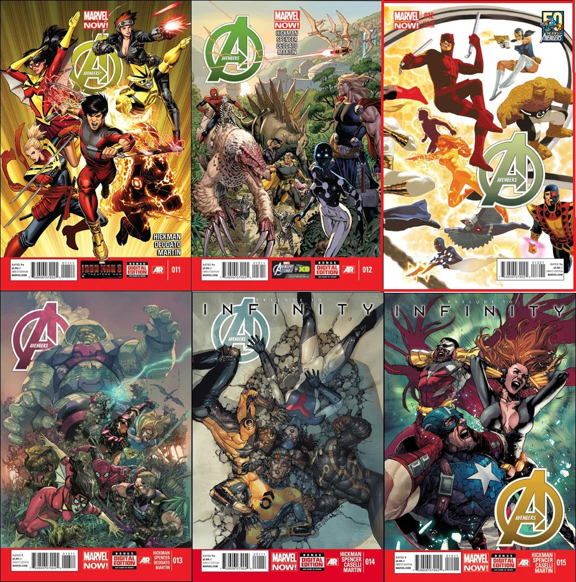 Avengers (Vol 7) #11 12 13 14 15 *Bonus Variant* [2013] VF/NM *Marvel Now*
