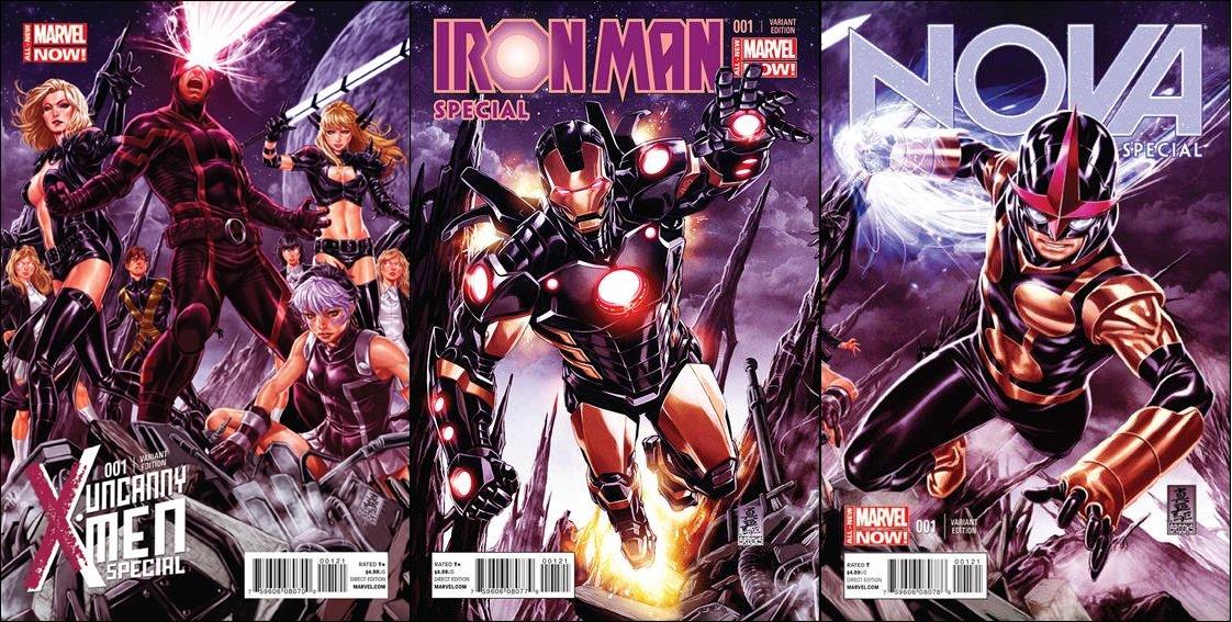No End in Sight Complete Story Interlocking Variants Uncanny X-Men, Iron Man, and Nova Specials