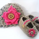 Babys Flower Hat and Shoes Crochet Pattern 0-3 3- 6 6-12 month sizes