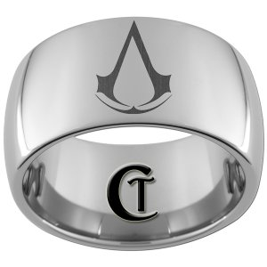 12mm Dome Tungsten Carbide Assassin's Creed Laser Design Ring Sizes 5-15