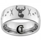 Tungsten Band 10mm Dome Deer Hunting Design Ring Sizes 4-17