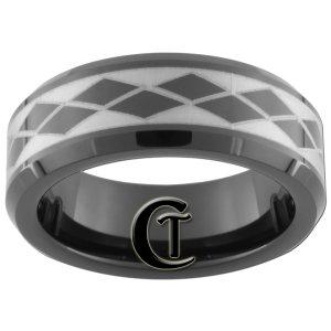 7mm Tungsten Carbide Beveled Argyle Pattern Laser Design Ring Sizes 5-15