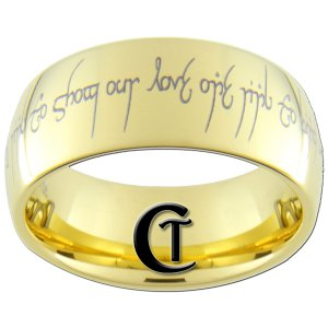 9mm Gold Dome Tungsten Carbide LOTR Love Poem Design Ring Sizes 5-15