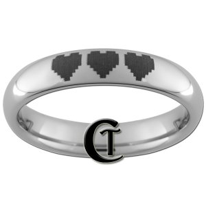4mm Dome Tungsten Carbide Band Nintendo 8- Bit Heart Ring Sizes 5-13