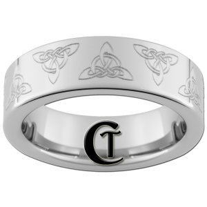 6mm Tungsten Carbide Piped Celtic Triangle Design Ring Sizes 4-15