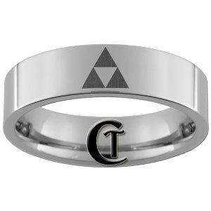 6mm Tungsten Carbide Legend of Zelda Triforce Laser Design Ring Sizes 4-15