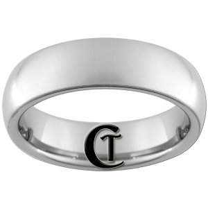 6mm Tungsten Carbide Domed All-White Frosted Lasered Design Ring Sizes 4-15