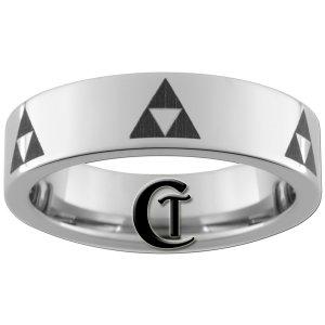 6mm Pipe Tungsten Carbide Legend of Zelda Triforce Laser Design Ring Sizes 4-15
