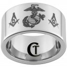 12mm Pipe Tungsten Carbide Marines Masonic Design Ring Sizes 5-15