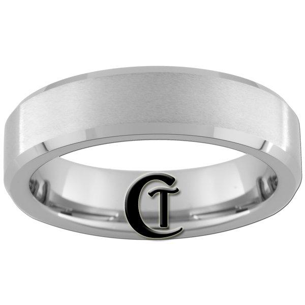 6mm Beveled Tungsten Carbide Band Ring Satin Finish Sizes 4-15