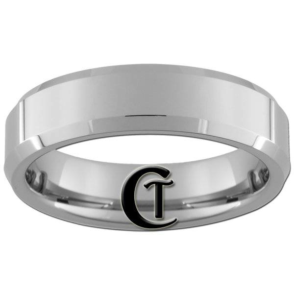 6mm Beveled Tungsten Carbide Band Ring Sizes 4-15