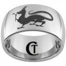 12mm Dome Tungsten Carbide Laser Dragon Design Ring Sizes 5-15