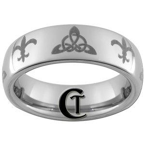 6mm Tungsten Carbide Domed Celtic Triangle Fleur De Lis Design Ring Sizes 4-15