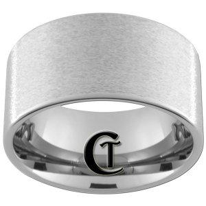 Mens Wedding Band Tungsen 12mm Pipe Stone Finish Design Sizes 5-15