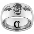 12mm Dome Tungsten Carbide Laser Skull with Bat Wings Design Ring Sizes 5-15