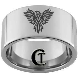 12mm Pipe Tungsten Carbide Band Phoenix Ring Sizes 5-15