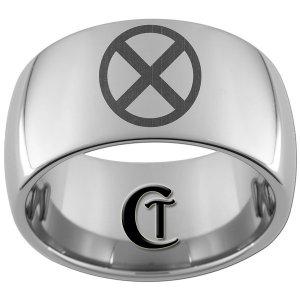 12mm Dome Tungsten Carbide Laser X Men Design Ring Sizes 5-15
