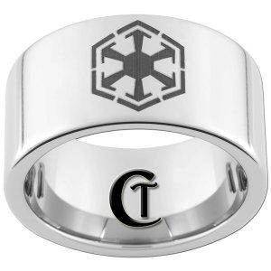 12mm Pipe Tungsten Carbide Laser Star Wars Sith Design Ring Sizes 5-15