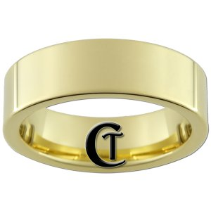 7mm Gold Tungsten Carbide Band Pipe Ring Sizes 5-15
