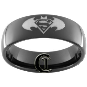 7mm Black Dome Tungsten Carbide Batman Superman Ring Sizes 5-15