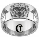 Tungsten Mens Ring 12mm Masonic 32nd Degree and Pennsylvania Past Master Design Sizes 5-15