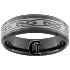 7mm Tungsten Carbide Beveled Celtic Laser Design Ring Sizes 5-15