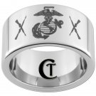 Tungsen Carbide Ring 12mm Pipe Marines and Cross Rifle Symbol Design Sizes 5-15