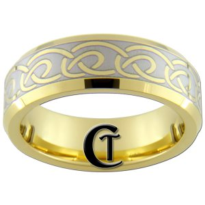 7mm Tungsten Carbide Beveled Gold Celtic Knot Lasered Design Ring Sizes 5-15