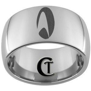 12mm Dome Tungsten Carbide Laser Star Trek Design Ring Sizes 5-15