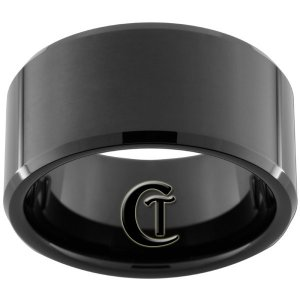 12mm Black Tungsten Carbide Band Beveled Ring Sizes 8-12