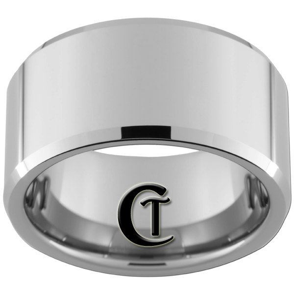 12mm Beveled Tungsten Carbide Band Ring Design Sizes 5-15