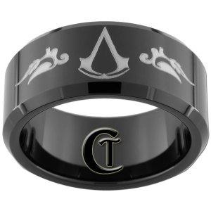 10mm Beveled Black Tungsten Carbide Assassin's Creed Laser Design Ring Sizes 5-15