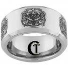 10mm Beveled Tungsten Carbide Laser Masonic 32 Degree Freemason Design Ring Sizes 4-17