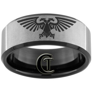 Tunsten Band 10mm Black Beveled Satin Finished Aquilla Design Ring Sizes 5-15
