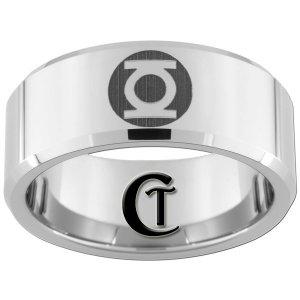 Mens Wedding Ring Tungsten 10mm Beveled Green Lantern Design Sizes 4-17