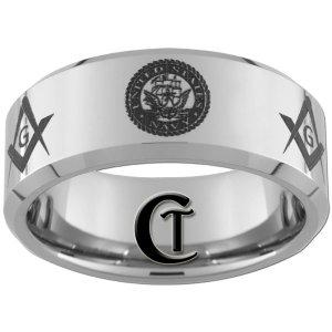 10mm Beveled Tungsten Carbide Laser NAVY Masonic Design Ring Sizes 4-17