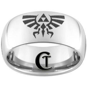 10mm Tungsten Carbide Legend of Zelda Skyward Sword Crest Laser Design Ring Sizes 4-17