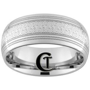 10mm Dome Tungsten Carbide Laser Design Ring Sizes 4-17